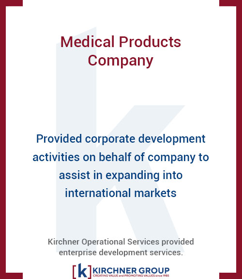 Provided corporate development activities on behalf of company to assist in expanding into international markets