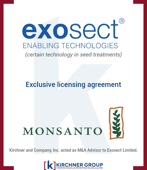 Exosect Exclusive Licensing Agreement with Monsanto